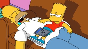 Sleepy Homer and Bart